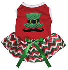 Mustache Hat Red Cotton Top Red White Green Chevron Tutu Pet Dog Puppy Dress