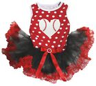 Baseball Heart Polka Dots Cotton Top Black Red Lace Tutu Pet Dog Puppy Dress
