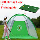 3 in 1 GOLF PRACTICE NET HITTING CAGE + DRIVING MAT TRAINING AID + Carry Bag