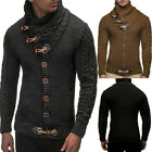 Men Long Sleeve Knitted Sweater Horn Button Sweater Cardigan Turtleneck Coat