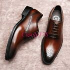 Europe Mens Retro New Carved Leisure Business Lace Up Formal Leather Dress Shoes