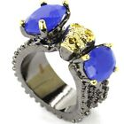 Vintage Real Blue Sapphhire Woman's Wedding Black Golden Silver Ring US sz 7.0#