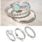 3pcs Sparkling 925 Silver Fire Opal Gemstone Ring Set Wedding Jewelry Gifts 7-10