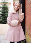 V By Very Blush Petite Fur Cuff Statement Trench Winter Swing Jacket Coat 6 - 18