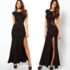 Women Slim Split Hollow Bodycon Party Prom Cocktail Back lace Long Maxi Dress