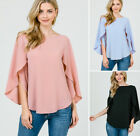 S M L Womens Flowy Ruffle Cape Long Sleeve Shirt Blouse Top Black Blue Pink USA