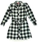 Girls Long Sleeve Check Blouse Long Shirt Tie Waist Fashion Dress 7 to 13 Years