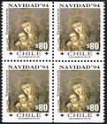 CHILE 1994 STAMP # 1695 DS-20 MNH BLOCK OF FOUR CHISTMAS