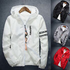 Men Boy Hooded Letter Print Jacket Windbreaker Slim Zipper Think Coat Outwear