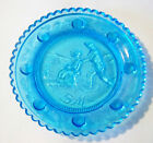 """Decorative Cyan Blue Glass Ice Skaters Cup Plate 3 1/2"""""""