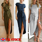 UK Womens Split Long Maxi Evening Party Cocktail Ladies Summer Beach Sun Dress
