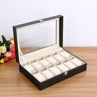 20/10/24 Grids Leather Watch Case Storage Display Box Jewelery Glass Collection