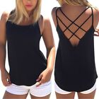Women's Backless Vest Shirt Ladies Lace up Casual Camisole Tank Tops Blouse Tee