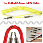 3.5mm Coiled AUX  Male Jack to Jack Cable Audio Auxiliary Lead PC Car 1m MP3 MP