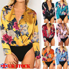 Women Ladies Floral Print Tuxedo Wrap Over Satin Bodysuit Leotard Blouse Top