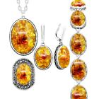 Simulated Amber Flower Vintage Necklace Earrings Ring Bracelet Jewelry Set