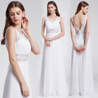 Ever-Pretty Long Sleeveless Wedding Dresses White Lace Bridesmaid Gown 08741