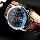 Men's Leather Military Casual Analog Quartz Wrist Watch Business Watches Gifts image