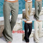 Women Elastic Waist Sports Yoga Loose Pants Summer Solid Causal Flared Trousers