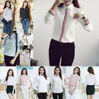 Fashion Womens Long Sleeve Slim Shirt Blouse Office Lady Button Down Shirt  Tops