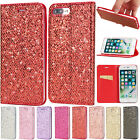 Fashion Sparkle suction PU Leather Flip Case Cover For Apple /Samsung Phones