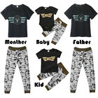 Family Matching Women Man Kid Clothes Tops Romper T-shirt Camo Pants Outfits USA