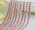 1m Chain Single Row Strass Glass Crystal Rhinestones Claw Cup Trims 4 Size