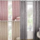 Halo Thermal Lined Block Out Eyelet Curtains Metallic Sparkle Ring Top Pairs