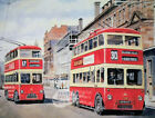 BELFAST VINTAGE TROLLEY BUS ORIGINAL PAINTING METAL SIGN: 3 SIZES TO CHOOSE FROM