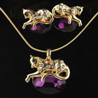 4 COLOR New 14k Gold Filled Austrian Crystal Garnet Cheetah Necklace Earrings