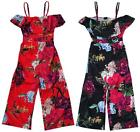 Girls Jumpsuit Hydrangea Flower Strappy Wide Flare Leg Playsuit 4 to 14 Years