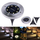 4 Pack Solar Power 8 LED Buried Light Outdoor Under Ground Waterproof Disk Lamp