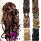 Full Head Real Thick Clip In Hair Extensions Curly 7 Piece Synthetic as human