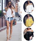 Women's Sexy Short Tops Body-fitted Polo Sleeve Off Shoulder Blouse Three Colors