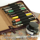 Japan Made! NAGASAWA Original Leather Zipper Fountain Pen Case Holder for 10 pcs