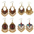 Fashion Retro Boho Drop Gold Carved Ethnic Tassel Earrings Women Jewellery