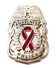 Burgundy Awareness Ribbon Pin Police Badge Security Sheriff Causes Silver New