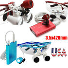 Red/Blue Dentist Dental Loupes 3.5X 420mm Surgical Binocular LED Head Light Lamp