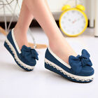 Women's Slip On Wedge Mid Heels Mary Janes Bow Pumps Platform Party Courts Shoes