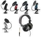 Blue Microphone Yeti USB Microphone /w Headphones and Pop Filter Choose Color