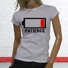 LOW PATIENCE DEAD LOW BATTERY HUMOR WARNING FUNNY Womens White T-Shirt