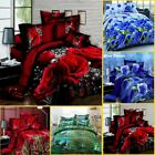 4x Print 3D Duvet Cover Bedding Set Queen Size Quilt Cover Bed Sheet Pillowcases image
