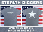Stealth Diggers Gray made in the USA live free or die metal detecting t shirt