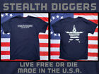 Stealth Diggers Navy blue made in the USA live free or die detecting t shirt
