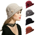 Upturn Brim Womens Gatsby Stlye Wool Cloche Bucket Winter Dress Winter Hats