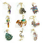 Key Chains Animal Keyring Purse Bag Rhinestone Crystal Charm Pendant Necklace