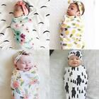 2PCS Newborn Anti-kick Swaddle Sleeping Bag Matching Knotted Bow Headband RT