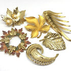 Vintage Lot Of 6 Scatter Fall Leaves Leaf Brooch Scrf Pins Gold Tone Faux Pearls
