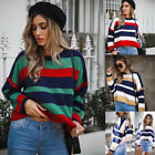 Sexy Women Striped Tops Loose Chunky Crew Neck Stitching Swe