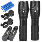 2 x Rechargeable 15000LM Zoom LED 5modes Flashlight 18650 Battery&Charger+Clip N